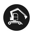 black round web icon excavator with bucket vector image vector image