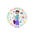 boy with a backpack behind his back banner with vector image