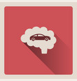 brain thinking in car on red background with shade vector image vector image