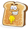 buttered toast cartoon character vector image