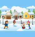 cartoon kids playing in the vector image vector image