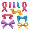 Cartoon shine and glossy bows flags and ribbons vector image