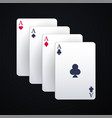 casino playing cards on the dark background vector image