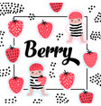 childish design with cute girls and strawberries vector image vector image