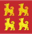 chinese zodiac dog set paper cut design vector image
