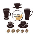 coffee collection cup bean vector image vector image