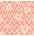 Cream pink roses and chevron seamless pattern vector image