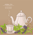 cup of elderberry tea and teapot vector image vector image