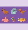 cute animals set deer hippo kangaroo pig duck vector image vector image