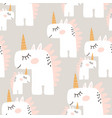 cute seamless pattern with fairy unicorns vector image vector image