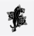 design black panther tattoo old school vector image