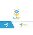 diamond and map pointer logo combination vector image vector image