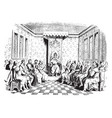 edward vi and his council from a wood-cut vintage vector image vector image