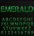 emerald effect letters and numbers vector image