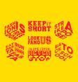 fashion slogans set for t-shirt stamp tee print vector image vector image