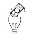 figure bulb save bill cash money inside vector image vector image