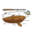fishing on a boat fishing rod summer vacation by vector image