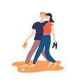 funny couple walking barefoot along sand beach vector image vector image