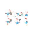 funny seagull sailor collection captain bird vector image