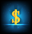 golden dollar sign on digital background vector image vector image