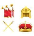 golden medieval symbols realistic icons set vector image