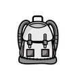 grayscale backpack object with pockets and vector image