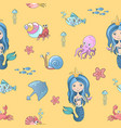 hand drawing cute little mermaid princess vector image vector image