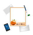 Happy Halloween Postcard and Envelope with Pencil vector image vector image