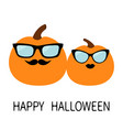 happy halloween pumpkin family love couple funny vector image vector image