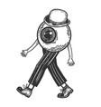 human eye walks on its feet engraving vector image vector image