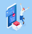 isometric delivery app isometric website template vector image vector image