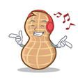 listening music peanut character cartoon style vector image
