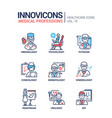 medical professions line design style icons set vector image