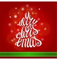 Merry Christmas Greeting CardFir tree lettering vector image
