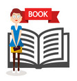 open book icon wih woman isolated on white vector image vector image
