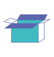 opened cardboard box icon in blue and purple color vector image vector image