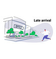 overweight fat man running male over size worker vector image vector image