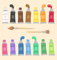 paint tubes set and brush vector image