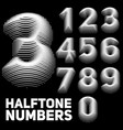 set halftone embossed numbers vector image