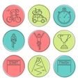 Set of 9 Bicycle Race modern linear icons vector image vector image