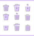 set of purple trash icon on white background vector image vector image