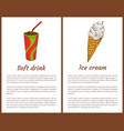 soft drink and ice cream set vector image vector image