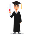 student graduation cartoon character with diploma vector image