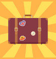 suitcase with stickers poster vector image vector image