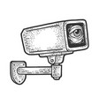 surveillance camera with eye sketch vector image vector image