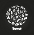sweet desserts cakes candies icons on chalkboard vector image vector image