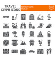 travel glyph icon set tourism symbols collection vector image vector image