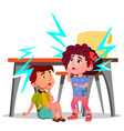 two frightened kids sitting under the table during vector image vector image