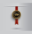 vip badge on red ribbon vector image vector image