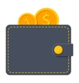 Wallet with coins vector image